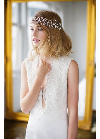 Floral Marquise Crystal Halo with Ribbon Tie - Wedding Accessories