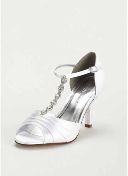 David's Bridal White (Dyeable Mid Heel Crystal T Strap Sandal)