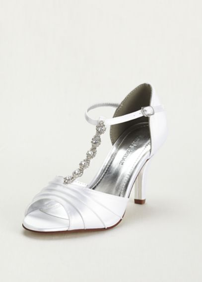 Dyeable Mid Heel Crystal T Strap Sandal TIAWHITE