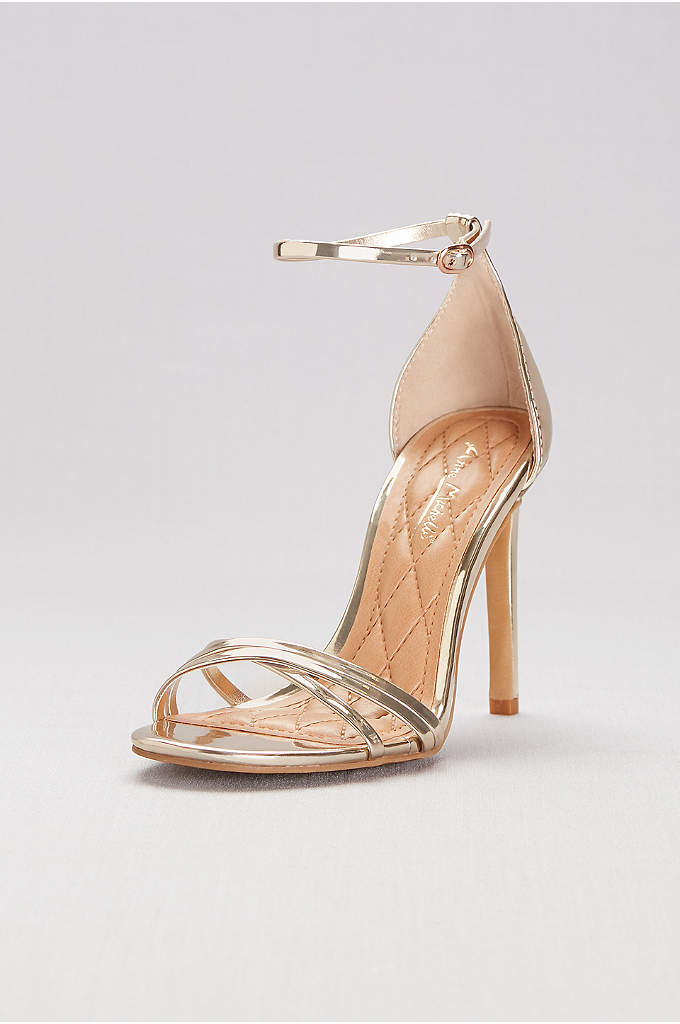 Asymmetrical Cross-Strap Metallic Heels - These metallic ankle-wrap heels feature skinny asymmetric crisscross