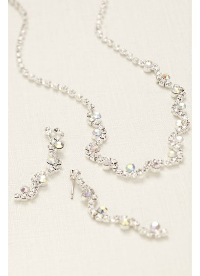 Wavy Multi Color Crystal  Necklace and Earring Set - Wedding Accessories