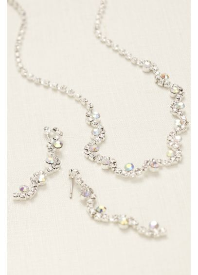 Wavy Multi Color Crystal  Necklace and Earring Set TN2722NE