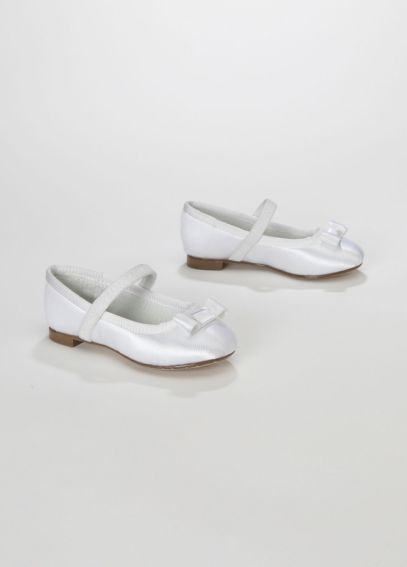 Dyeable Flower Girl Ballet Flat with Grosgrain Bow TORRANCE