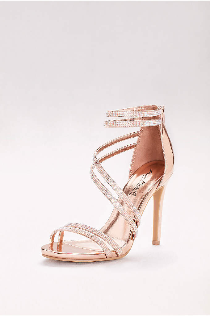 Crystal-Embellished Double-Strap Stiletto Sandals - A pair of delicate, crystal-encrusted straps winds diagonally