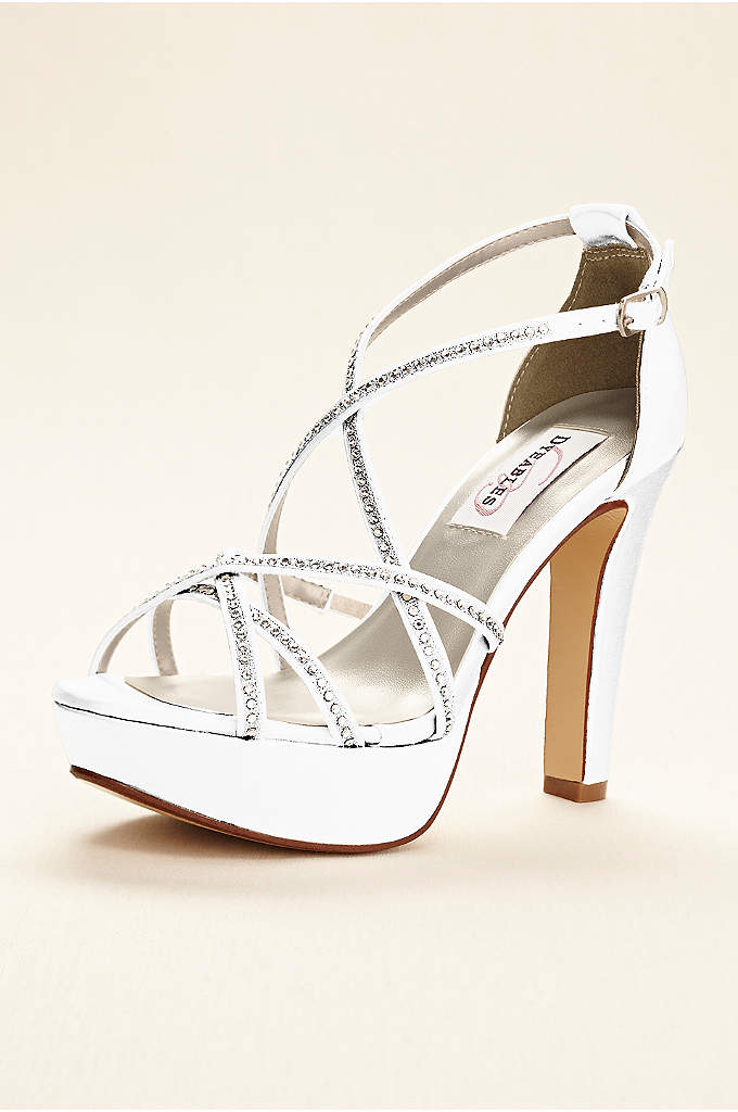 Dyeable Strappy Platform Sandal with Crystals - Add just the right amount of sparkle with