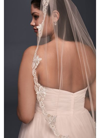 Lace-Edged Whisper Pink Elbow Veil - Wedding Accessories