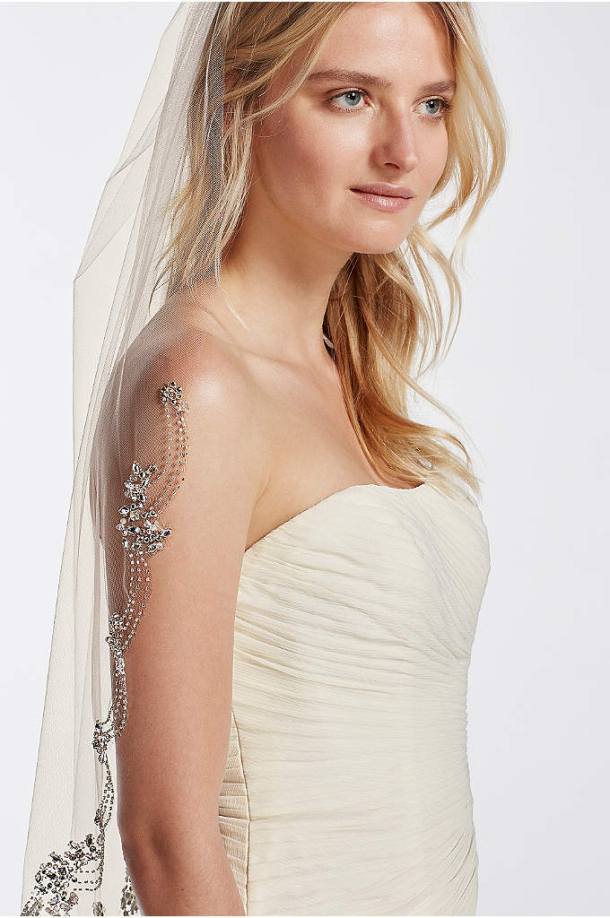 Dripping Crystals Veil - Ultra-chic and on trend, this statement piece veil