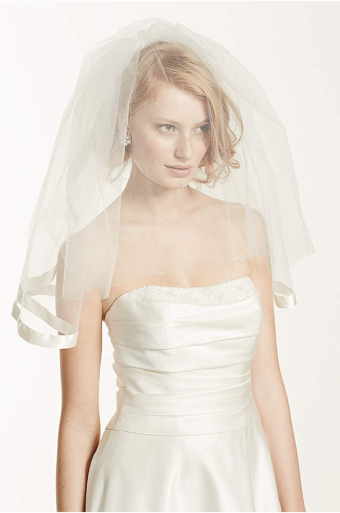Satin Veil with Ribbon Trim and Blusher - A classic piece with an updated edge, this
