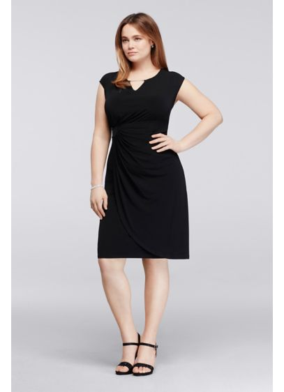 Short Sheath Cap Sleeves Guest of Wedding Dress - Connected Apparel