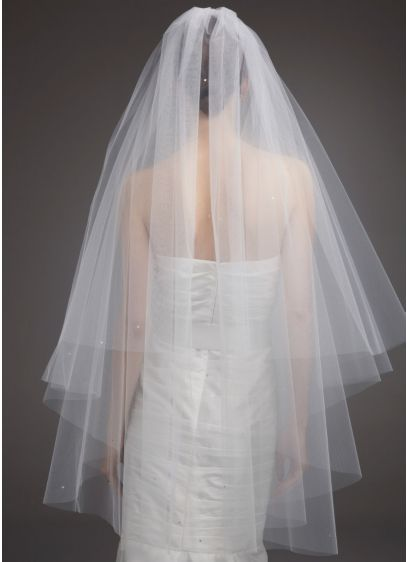 Two Tier Walking Veil with Scattered Crystals - Wedding Accessories