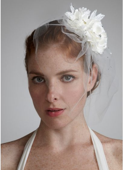 Double Flower Tulle Fascinator - Wedding Accessories