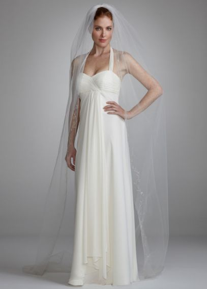 Single Tier Chapel Length Veil with Embroidery V154