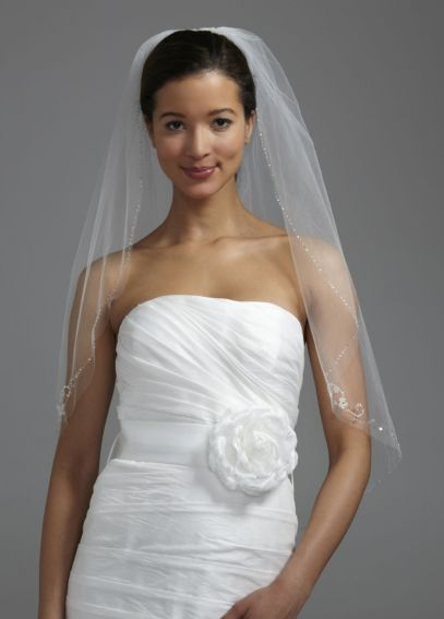 One Tier Veil with Beading and 3D Floral Edging V175