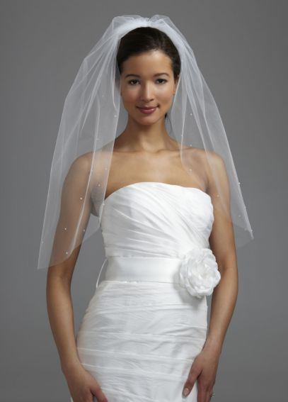 One Tier Veil with Rhinestone and Pearls V177