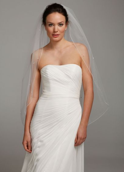 One Tier Mid Length Veil with Large Crystals V1811