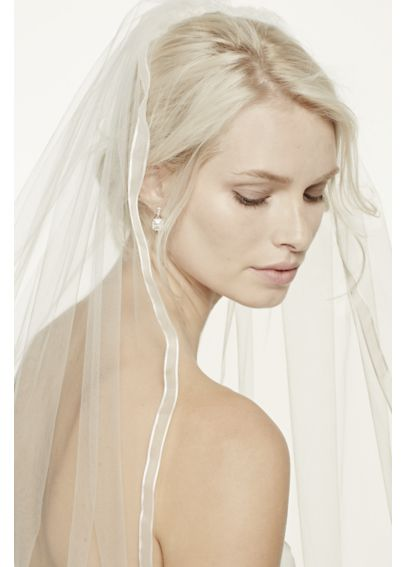 One Tier Mid Veil with Organza Ribbon Edge V184