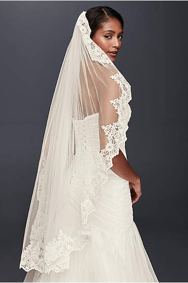 Corded Lace Fingertip Veil with Sequins