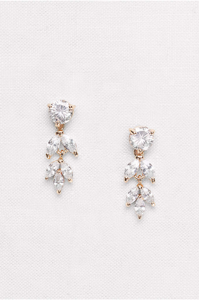 Solitaire and Marquise-Cut Cubic Zirconia Earrings - These petite drop earrings, perfect for achieving classic