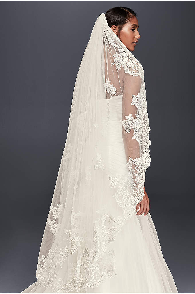 Metallic Embroidered Walking Veil with Appliques - Scattered lace appliques give this gauzy tulle veil