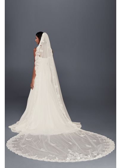 Floral Lace Cathedral Veil with Appliques - Wedding Accessories