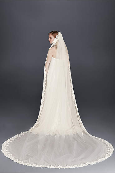 Corded Lace Cathedral Veil with Scalloped Edge
