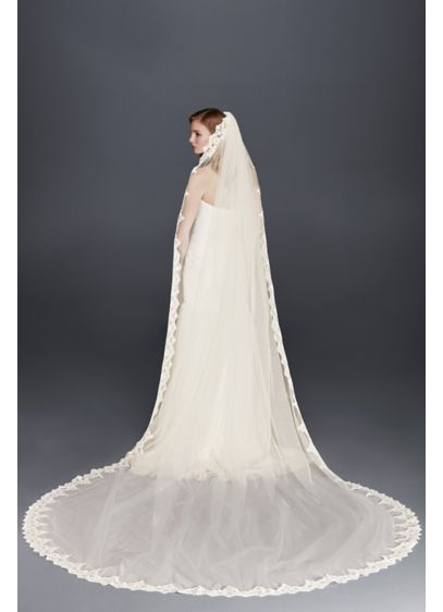 Corded Lace Cathedral Veil with Scalloped Edge - Wedding Accessories