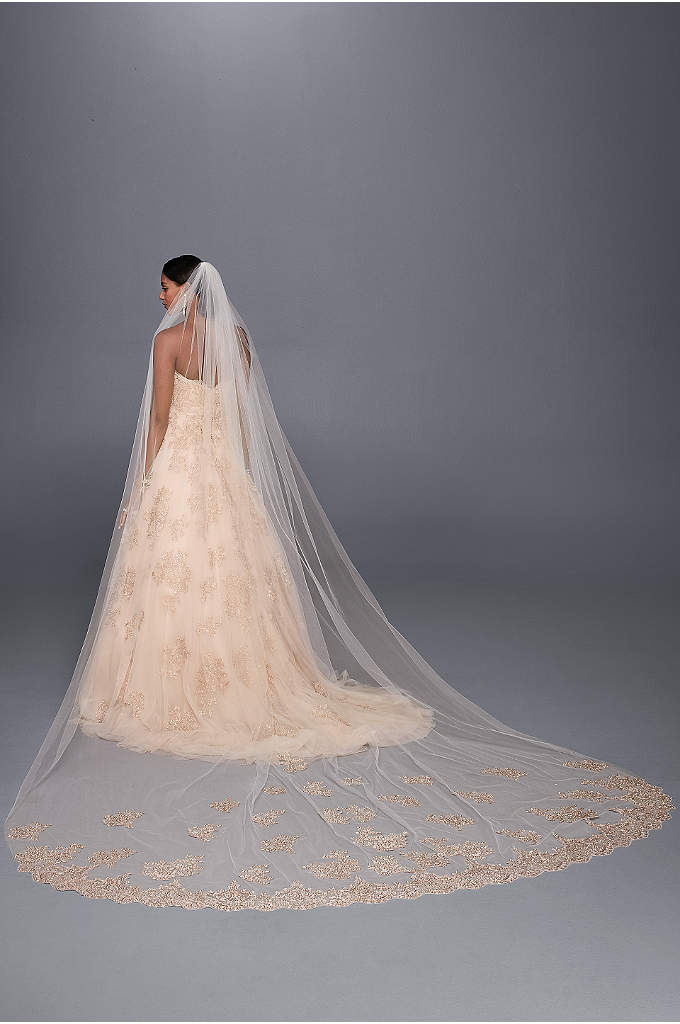 Rose Gold Embroidered Cathedral Veil - This metallic-embroidered veil offers the perfect hint of