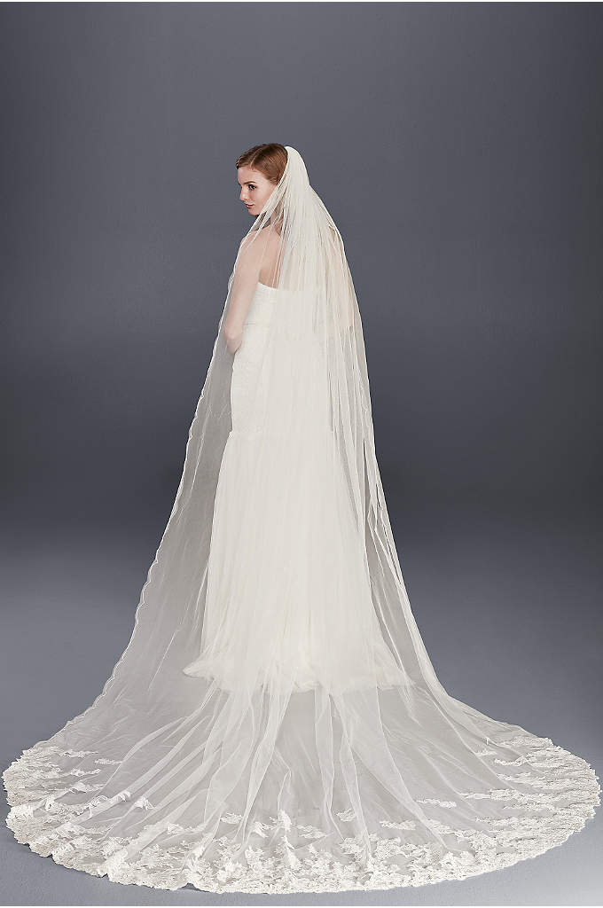 Metallic Lace Cathedral Veil with Pencil Edge - Touches of metallic thread glint from the lacy