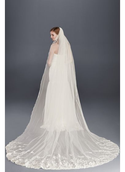 Metallic Lace Cathedral Veil with Pencil Edge - Wedding Accessories