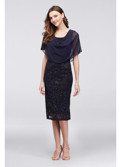 Short Sheath Capelet Cocktail and Party Dress - Ronnie Nicole