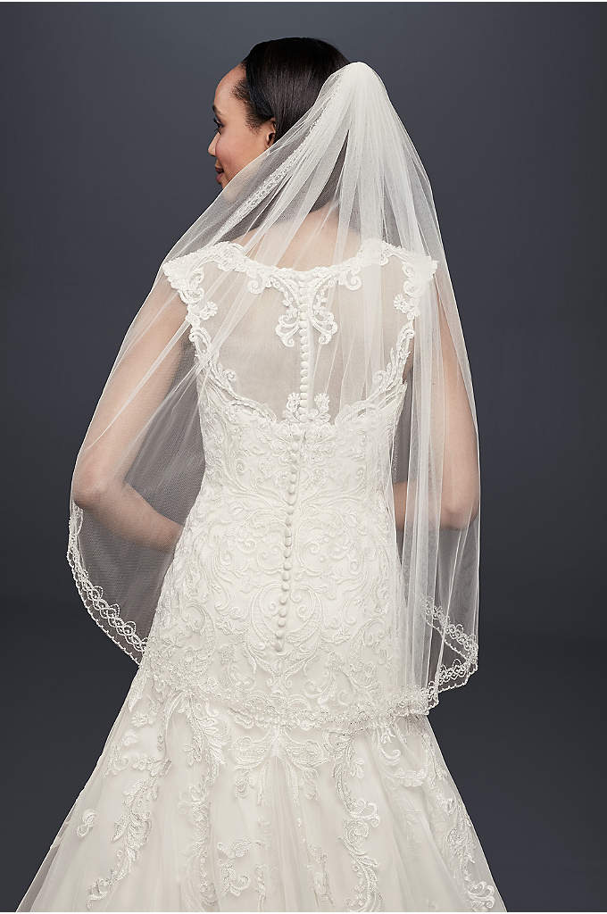 One Tier Mid Veil with Beaded Design - Finish off your bridal look with this charming