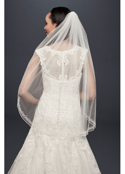 One Tier Mid Veil with Beaded Design V218