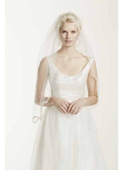 One Tier Veil with Metallic Flower Edge - Wedding Accessories