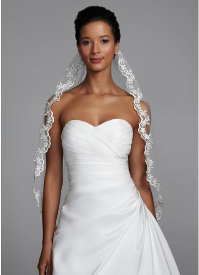 Mid-Length Veil with Metallic Lace Edging - Wedding Accessories