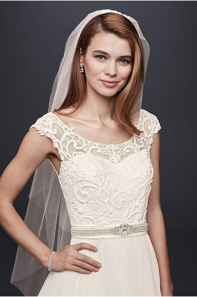 Two Tier Elbow Length Veil - Elegant and simplistic, this delicate two tier length