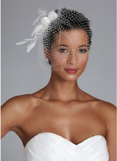 Netted Bridal Clip with Feather and Pearl Spray - Wedding Accessories