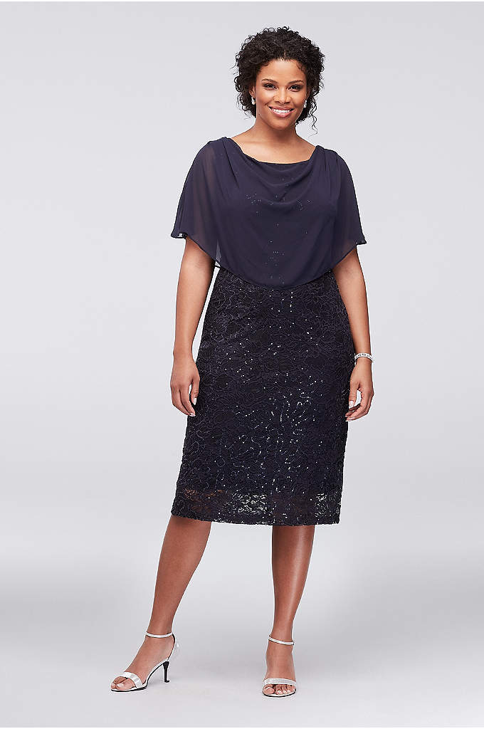Sequin Lace Plus Size Short Dress with Capelet - A gracefully draped chiffon capelet adds a flowy