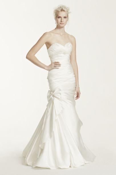 Satin Mermaid Wedding Dress with Bow Detail   David's Bridal