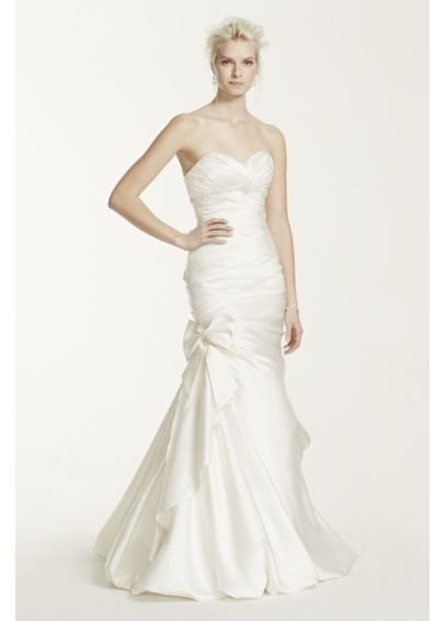 Satin Mermaid Gown with Bow Detail Wedding Dress V3204