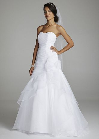 Organza A Line Gown with Floral Side Detail