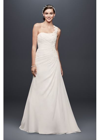 One Shoulder Chiffon Gown with Floral Appliques V3398