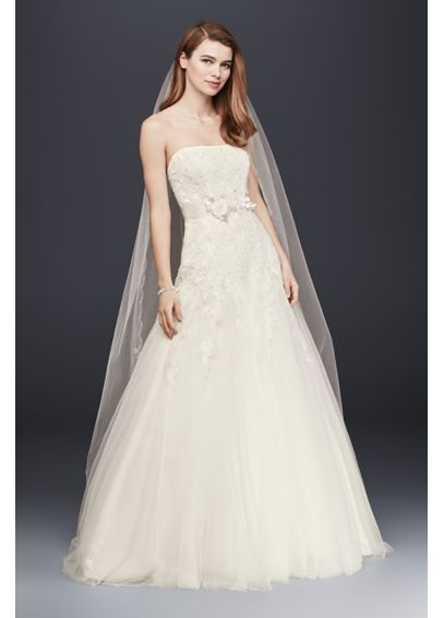 Strapless Tulle Wedding Dress with Beaded Lace V3469