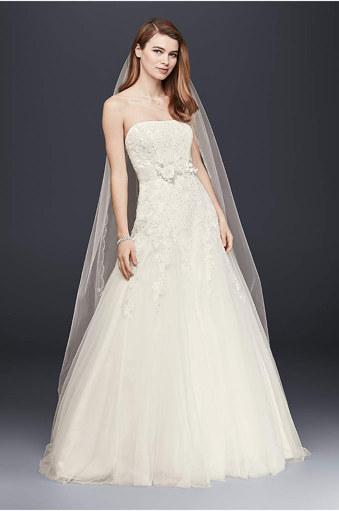 Strapless Tulle Wedding Dress with Beaded Lace - This romantic wedding gown is truly a vision.