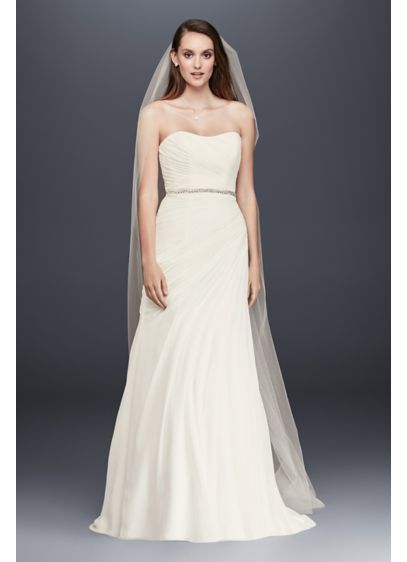 Crinkle chiffon wedding dress with draping davids bridal for Davids bridal beach wedding dresses