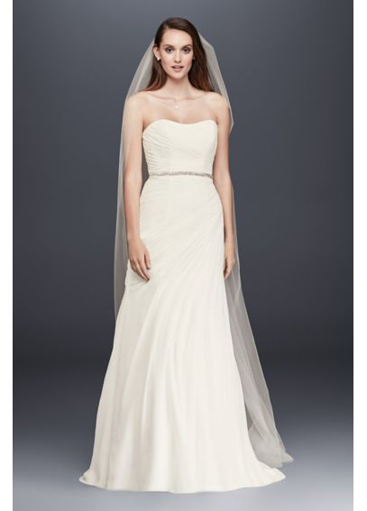 Crinkle Chiffon Gown with Asymmetrical Draping V3540
