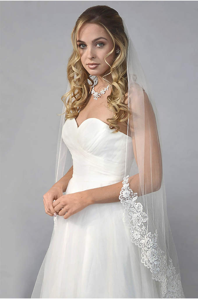Embroidered Floral Lace Fingertip Veil - This mid-length fingertip veil is finished with beautifully