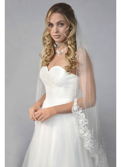 Embroidered Floral Lace Fingertip Veil - Wedding Accessories