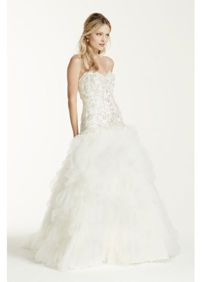 Strapless Tulle Ball Gown with Ruffled Skirt V3665