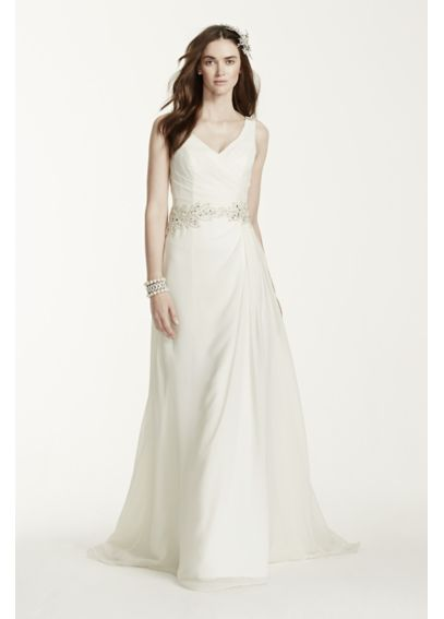 Chiffon A-Line Gown with Beaded Waist V3677