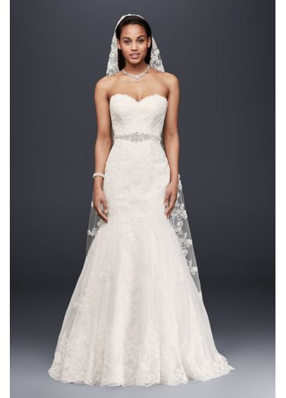 Sweetheart Trumpet Wedding Dress with Beaded Sash  V3680